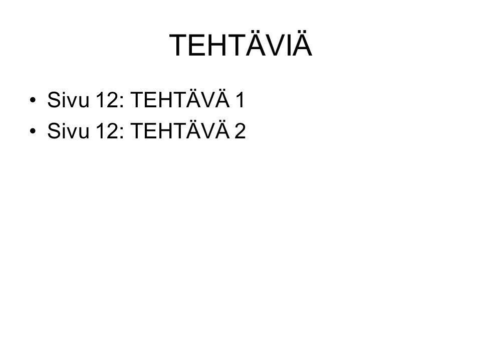 TEHTÄVIÄ Sivu 12: TEHTÄVÄ 1 Sivu 12: TEHTÄVÄ 2