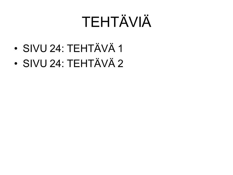 TEHTÄVIÄ SIVU 24: TEHTÄVÄ 1 SIVU 24: TEHTÄVÄ 2
