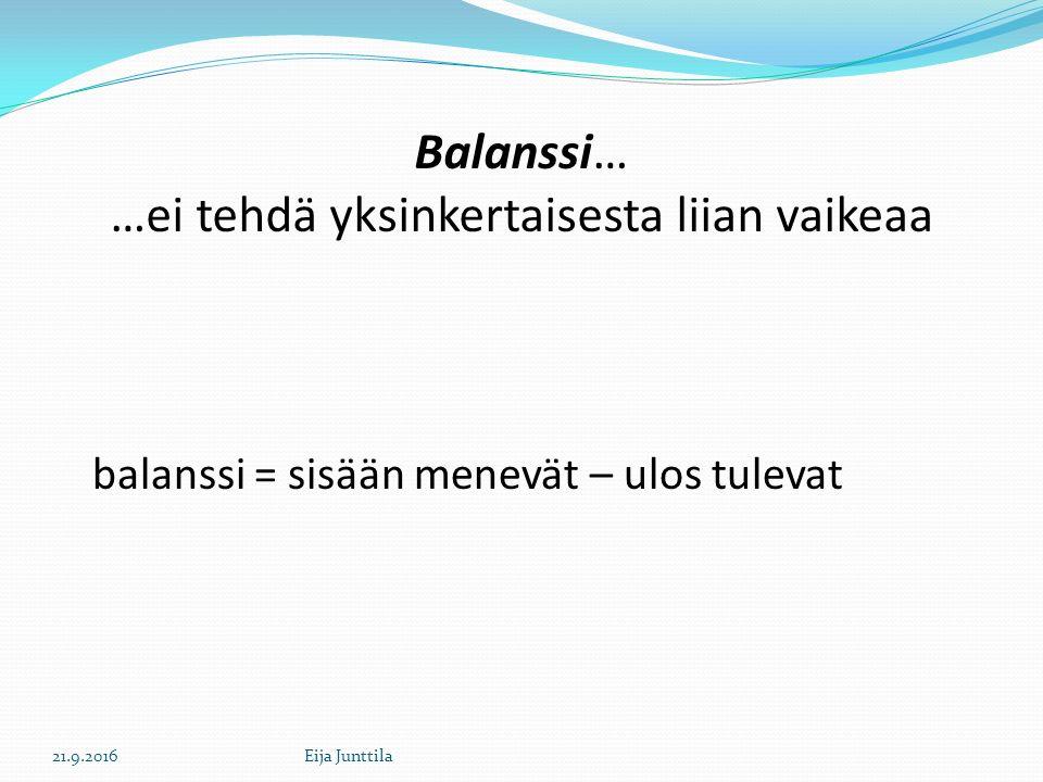 Balanssi… …ei tehdä yksinkertaisesta liian vaikeaa