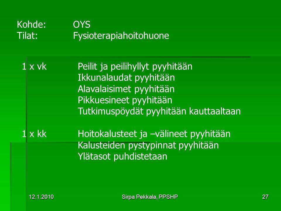 Kohde: OYS Tilat: Fysioterapiahoitohuone