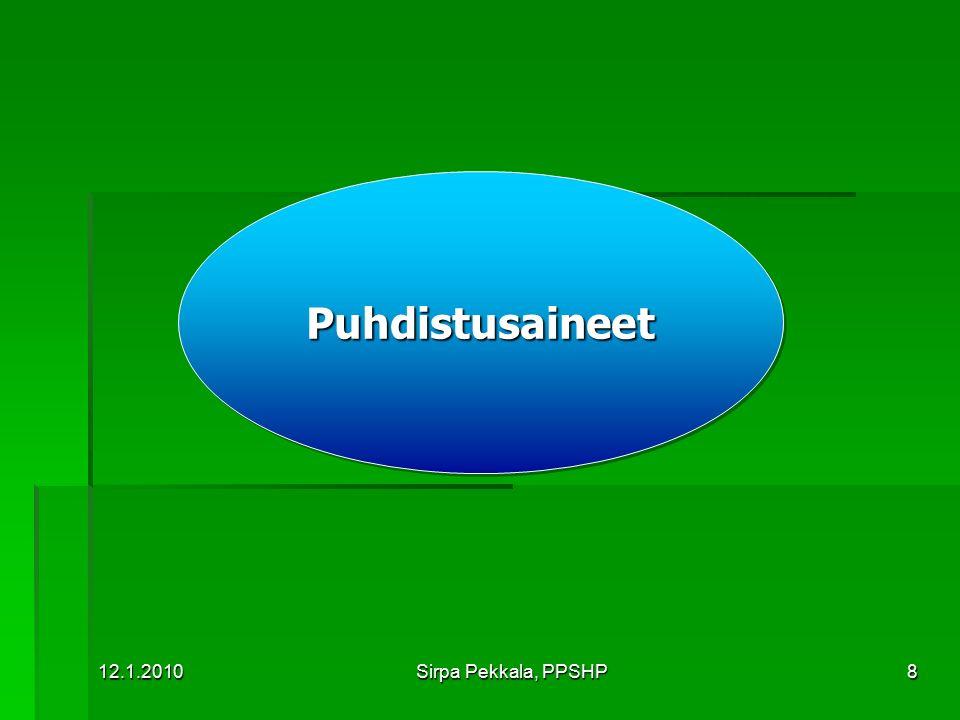 Puhdistusaineet 12.1.2010 Sirpa Pekkala, PPSHP