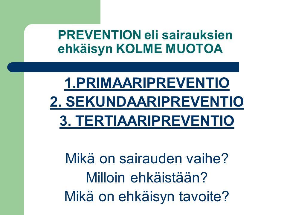 PREVENTION eli sairauksien ehkäisyn KOLME MUOTOA