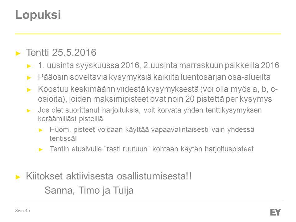 Lopuksi Tentti 25.5.2016 Kiitokset aktiivisesta osallistumisesta!!