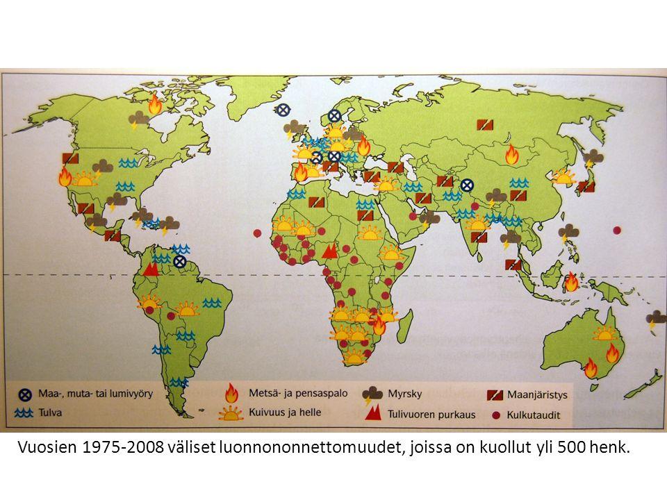 Vuosien 1975-2008 väliset luonnononnettomuudet, joissa on kuollut yli 500 henk.