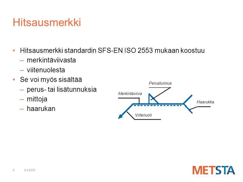 Hitsausmerkki Hitsausmerkki standardin SFS-EN ISO 2553 mukaan koostuu