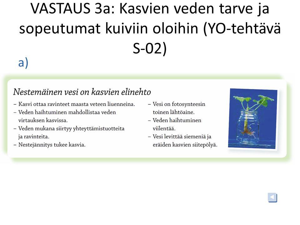 VASTAUS 3a: Kasvien veden tarve ja sopeutumat kuiviin oloihin (YO-tehtävä S-02)