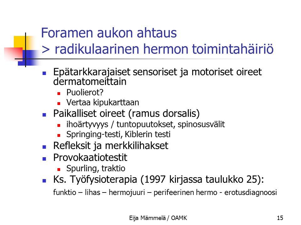 Foramen aukon ahtaus > radikulaarinen hermon toimintahäiriö