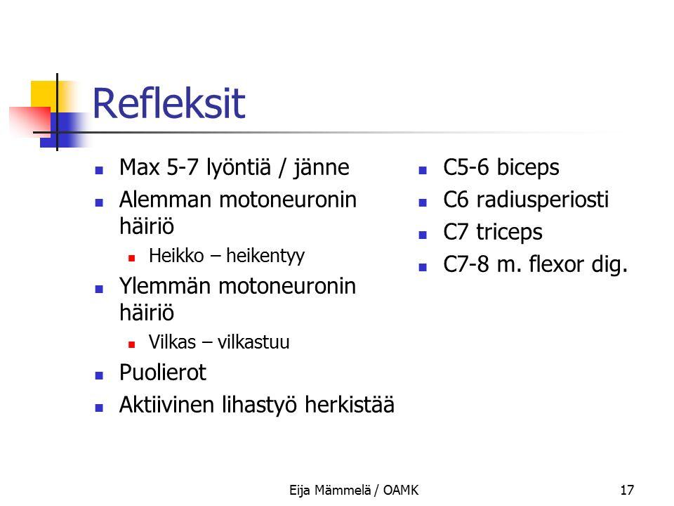 Refleksit Max 5-7 lyöntiä / jänne Alemman motoneuronin häiriö