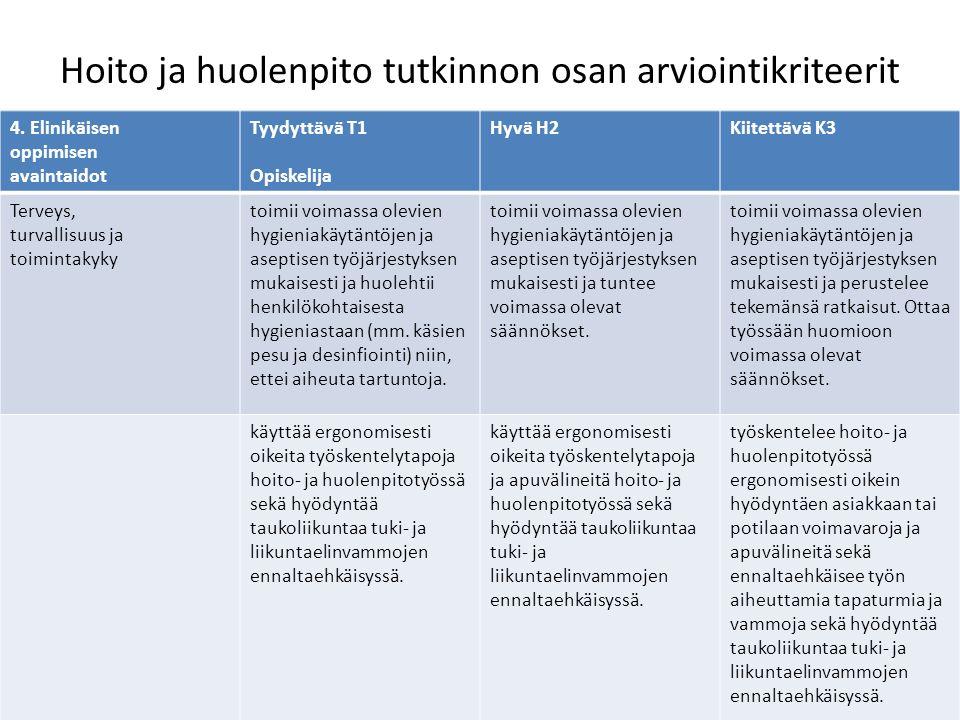 Hoito ja huolenpito tutkinnon osan arviointikriteerit