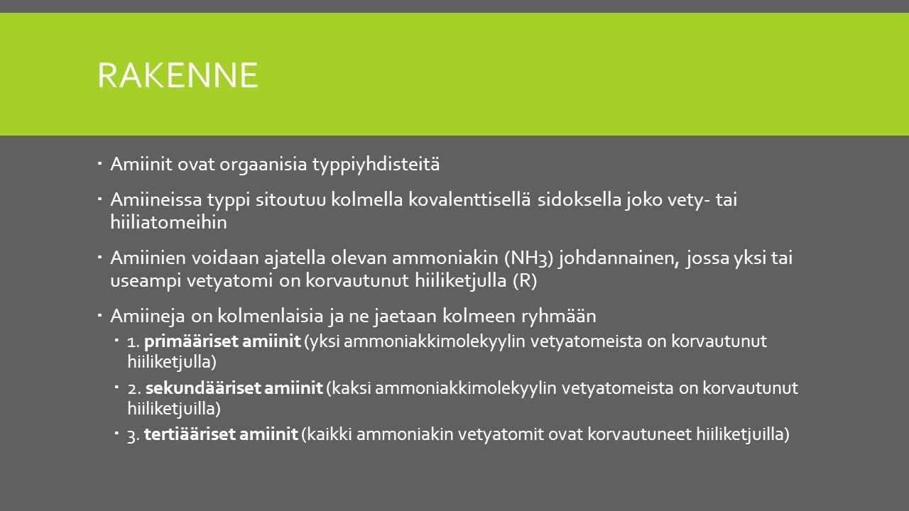 Rakenne Amiinit ovat orgaanisia typpiyhdisteitä