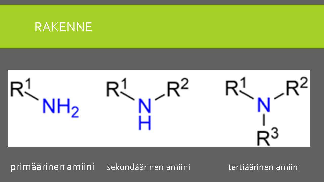 rakenne primäärinen amiini sekundäärinen amiini tertiäärinen amiini
