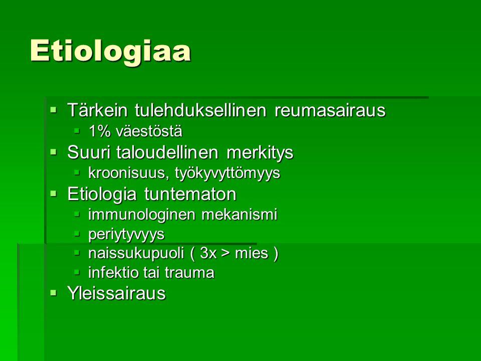 Etiologiaa Tärkein tulehduksellinen reumasairaus