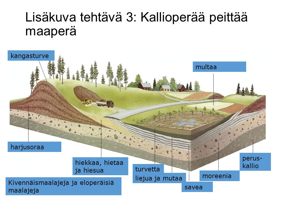 Lisäkuva tehtävä 3: Kallioperää peittää maaperä