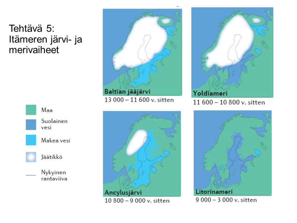 Tehtävä 5: Itämeren järvi- ja merivaiheet