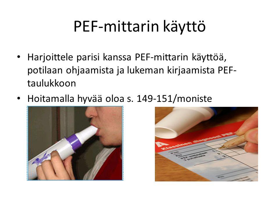 PEF-mittarin käyttö Harjoittele parisi kanssa PEF-mittarin käyttöä, potilaan ohjaamista ja lukeman kirjaamista PEF-taulukkoon.
