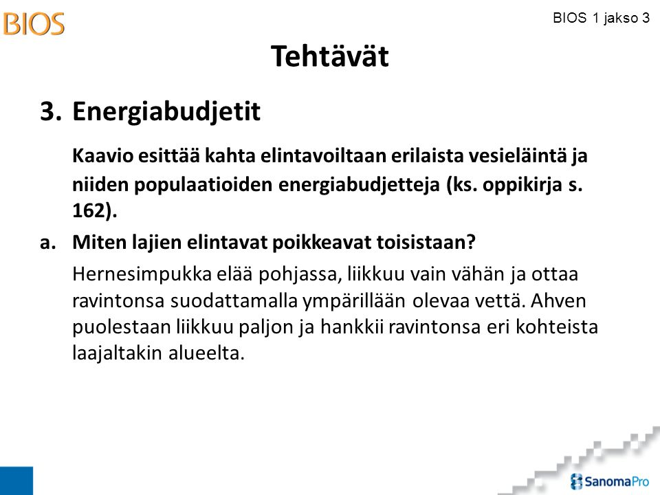 Tehtävät 3. Energiabudjetit