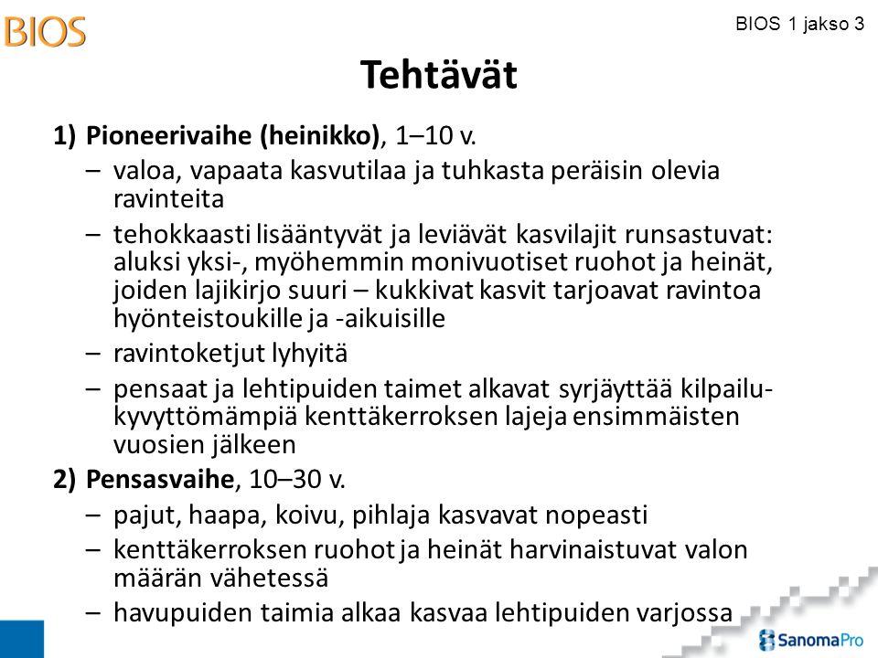Tehtävät 1) Pioneerivaihe (heinikko), 1–10 v.