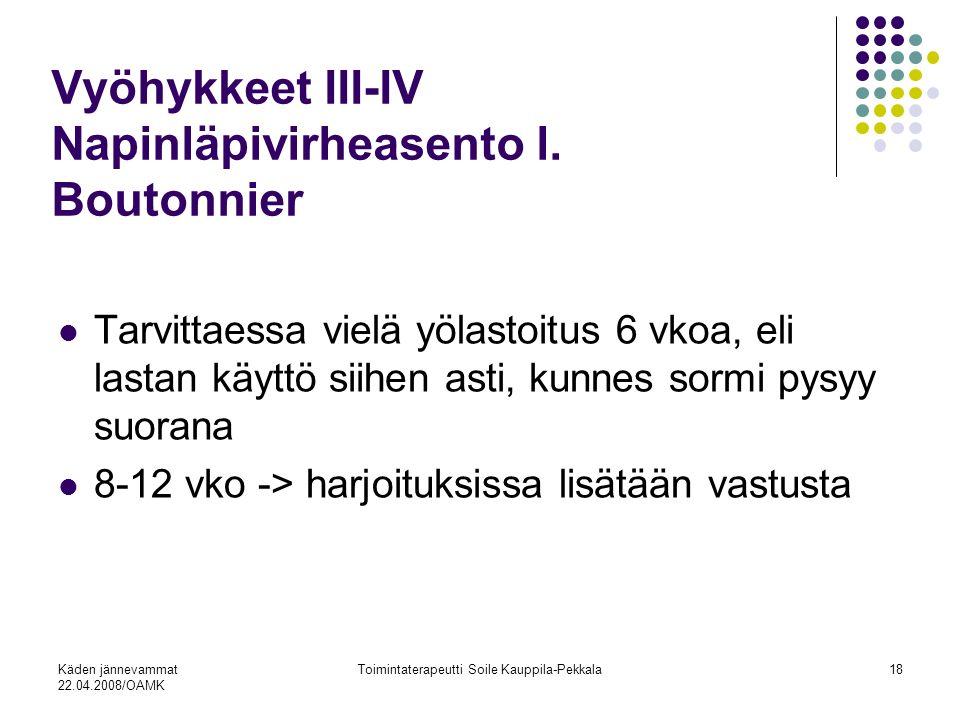 Vyöhykkeet III-IV Napinläpivirheasento l. Boutonnier