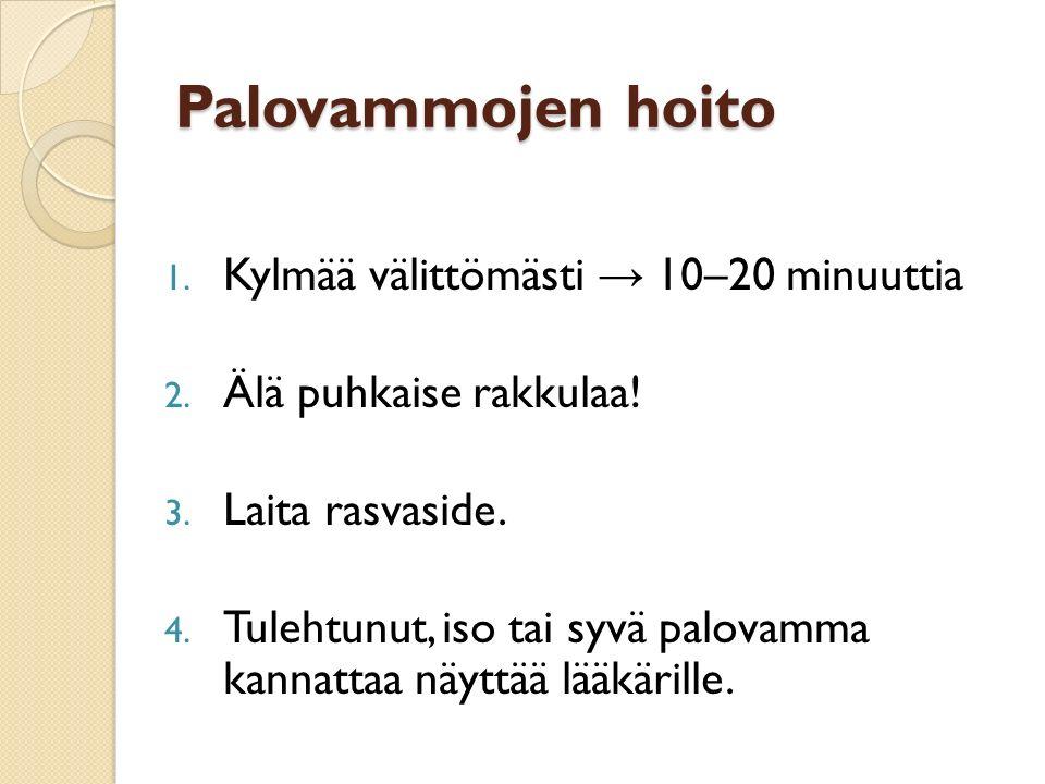 Palovammojen hoito Kylmää välittömästi → 10–20 minuuttia