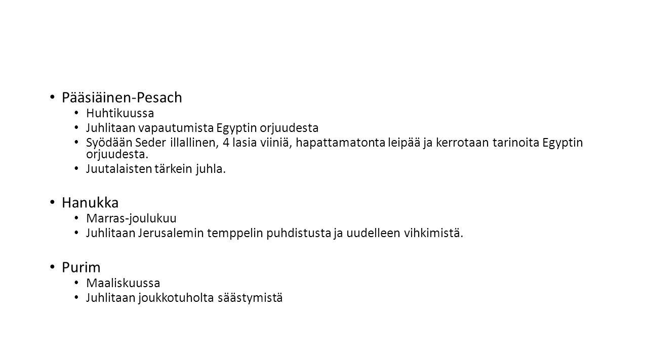 Pääsiäinen-Pesach Hanukka Purim Huhtikuussa