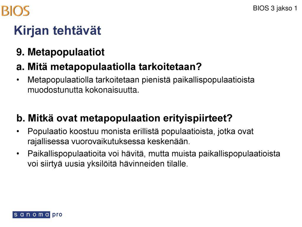 Kirjan tehtävät 9. Metapopulaatiot