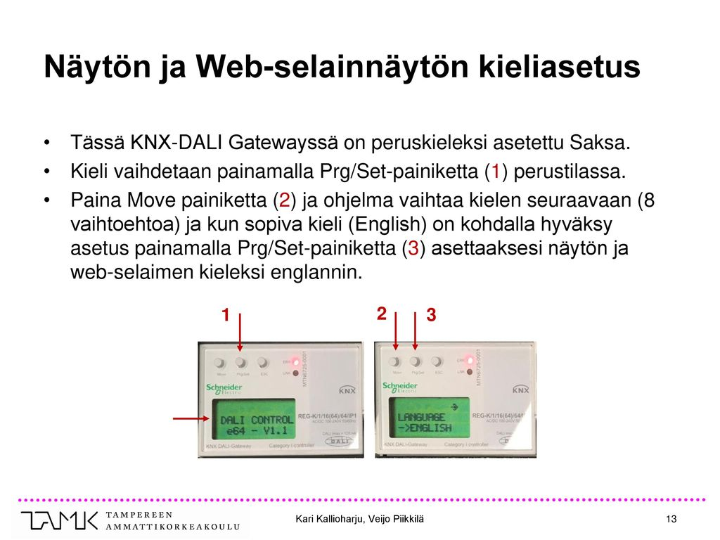 Näytön ja Web-selainnäytön kieliasetus