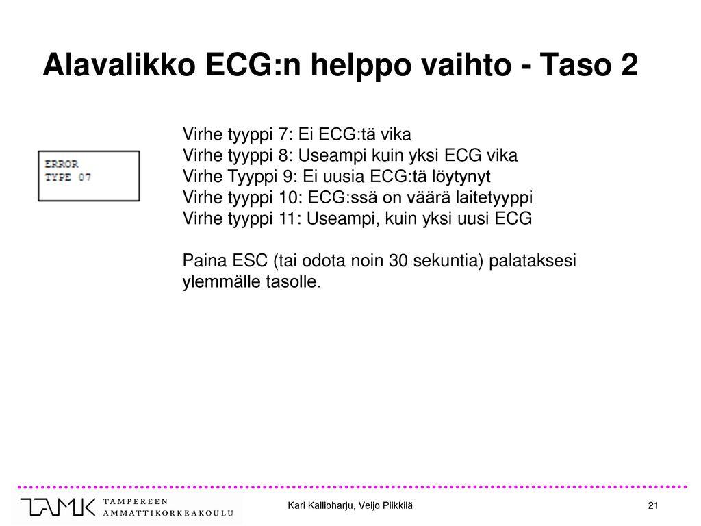 Alavalikko ECG:n helppo vaihto - Taso 2