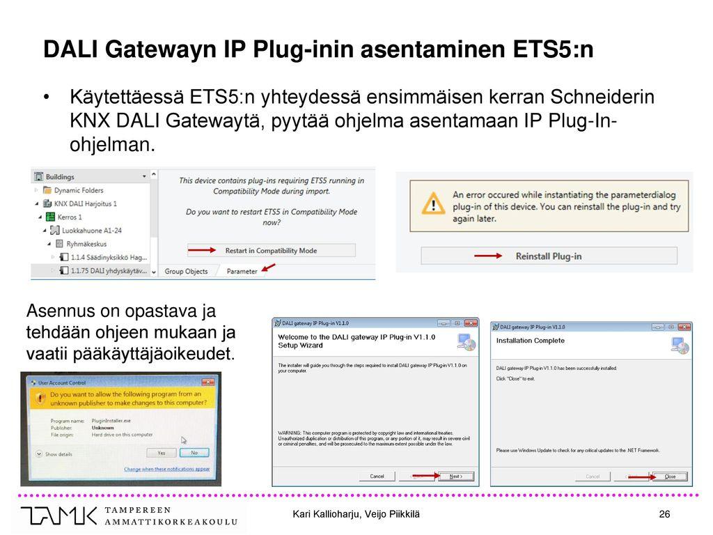DALI Gatewayn IP Plug-inin asentaminen ETS5:n