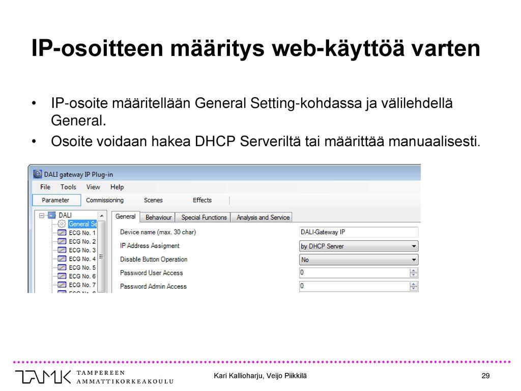 IP-osoitteen määritys web-käyttöä varten