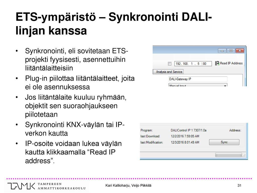 ETS-ympäristö – Synkronointi DALI-linjan kanssa