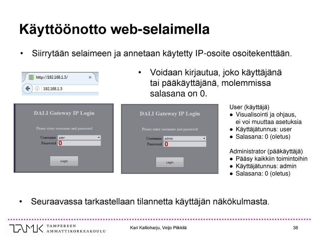 Käyttöönotto web-selaimella