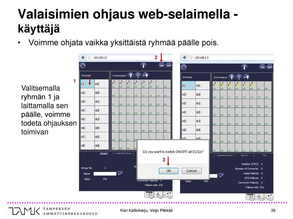 Valaisimien ohjaus web-selaimella - käyttäjä