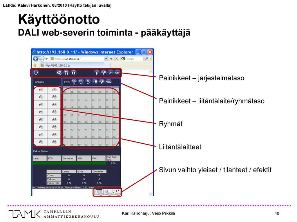 Käyttöönotto DALI web-severin toiminta - pääkäyttäjä