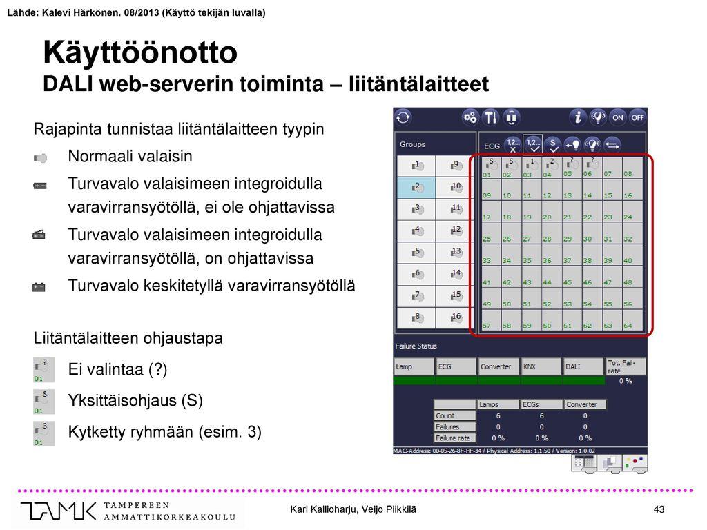 Käyttöönotto DALI web-serverin toiminta – liitäntälaitteet
