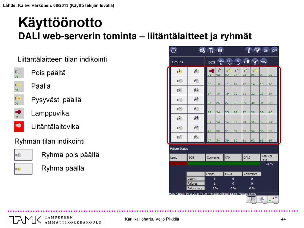 Käyttöönotto DALI web-serverin tominta – liitäntälaitteet ja ryhmät