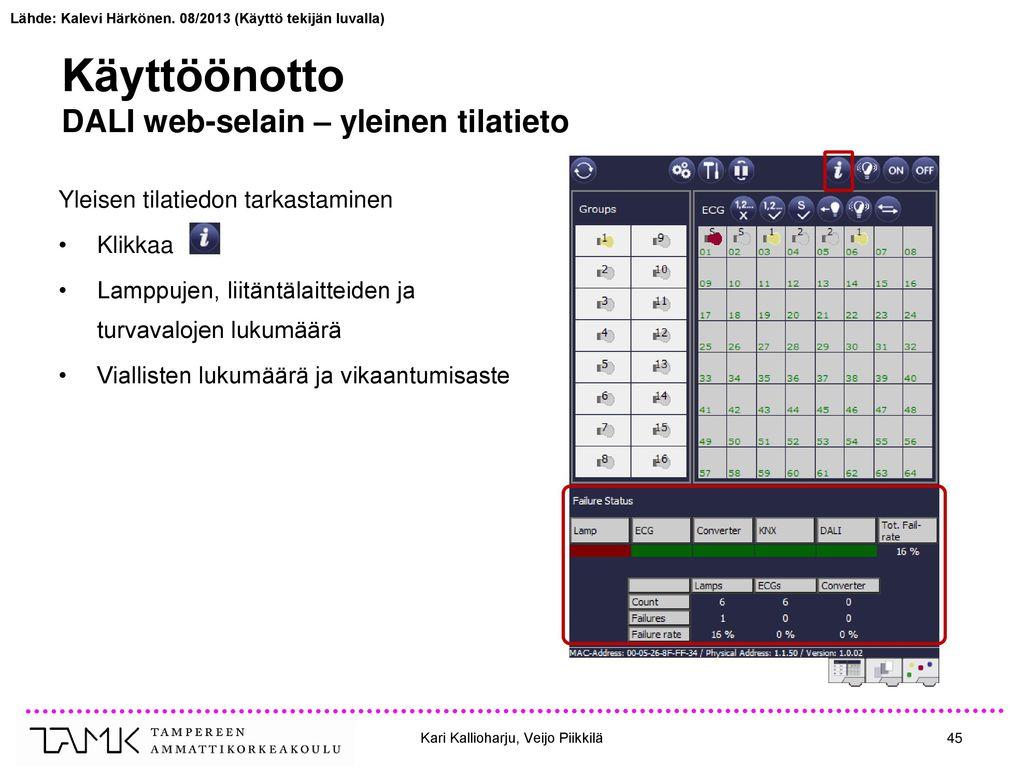 Käyttöönotto DALI web-selain – yleinen tilatieto