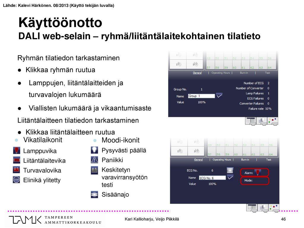 Käyttöönotto DALI web-selain – ryhmä/liitäntälaitekohtainen tilatieto