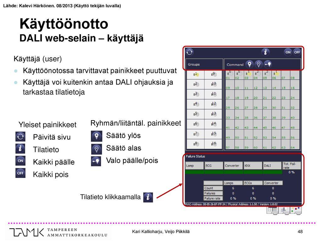 Käyttöönotto DALI web-selain – käyttäjä