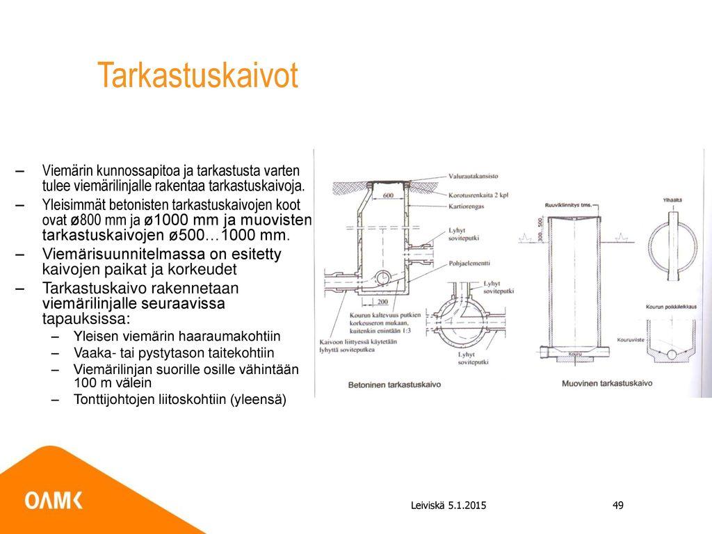 Tarkastuskaivot Viemärin kunnossapitoa ja tarkastusta varten tulee viemärilinjalle rakentaa tarkastuskaivoja.