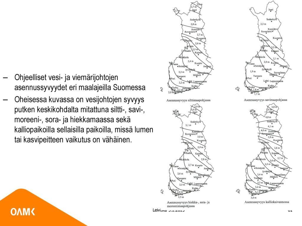 Ohjeelliset vesi- ja viemärijohtojen asennussyvyydet eri maalajeilla Suomessa