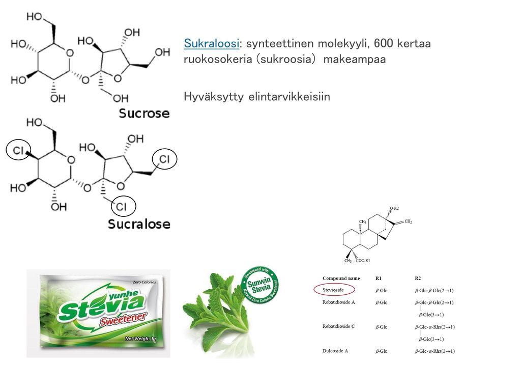 Sukraloosi: synteettinen molekyyli, 600 kertaa ruokosokeria (sukroosia) makeampaa