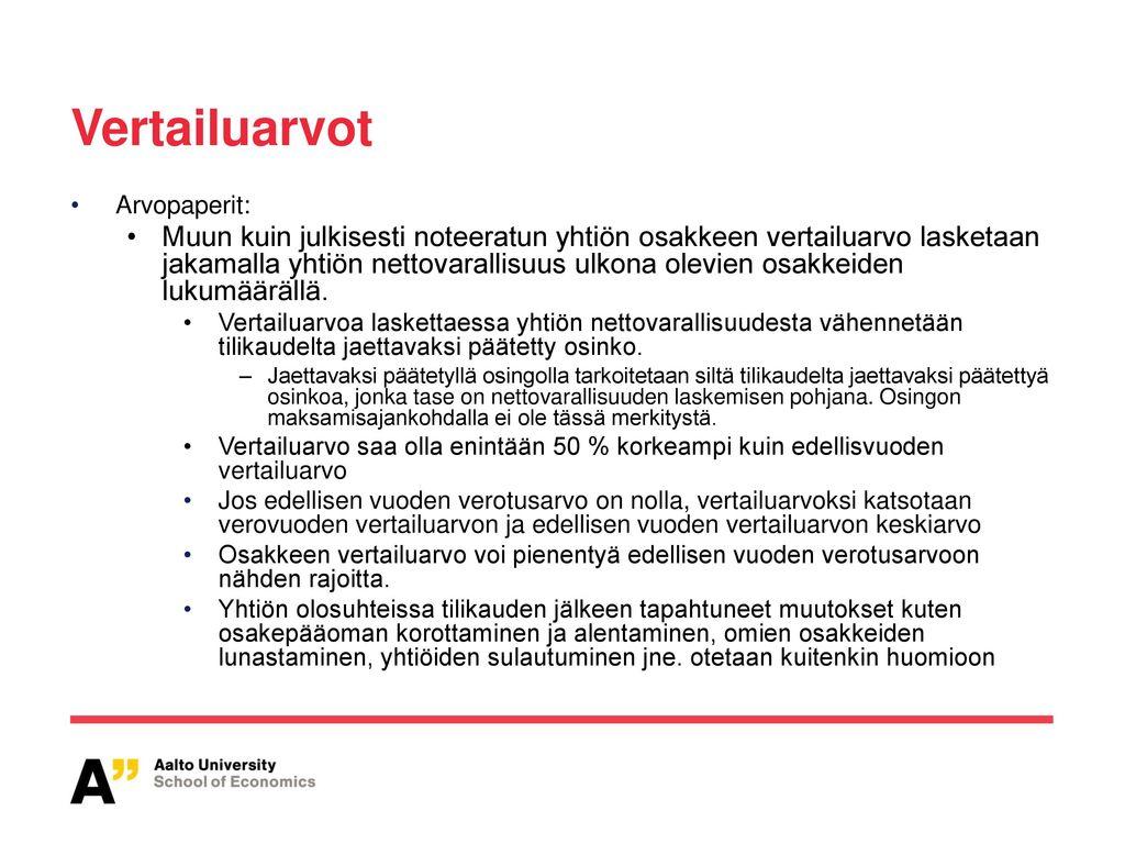 Vertailuarvot Arvopaperit: