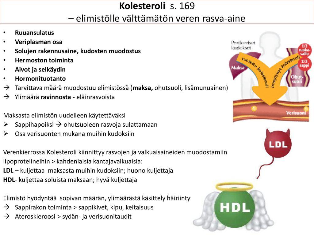 Kolesteroli s. 169 – elimistölle välttämätön veren rasva-aine