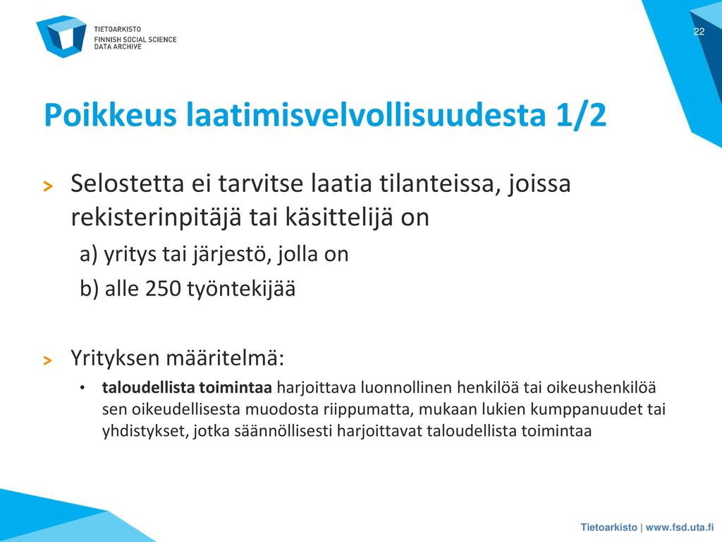 Poikkeus laatimisvelvollisuudesta 1/2