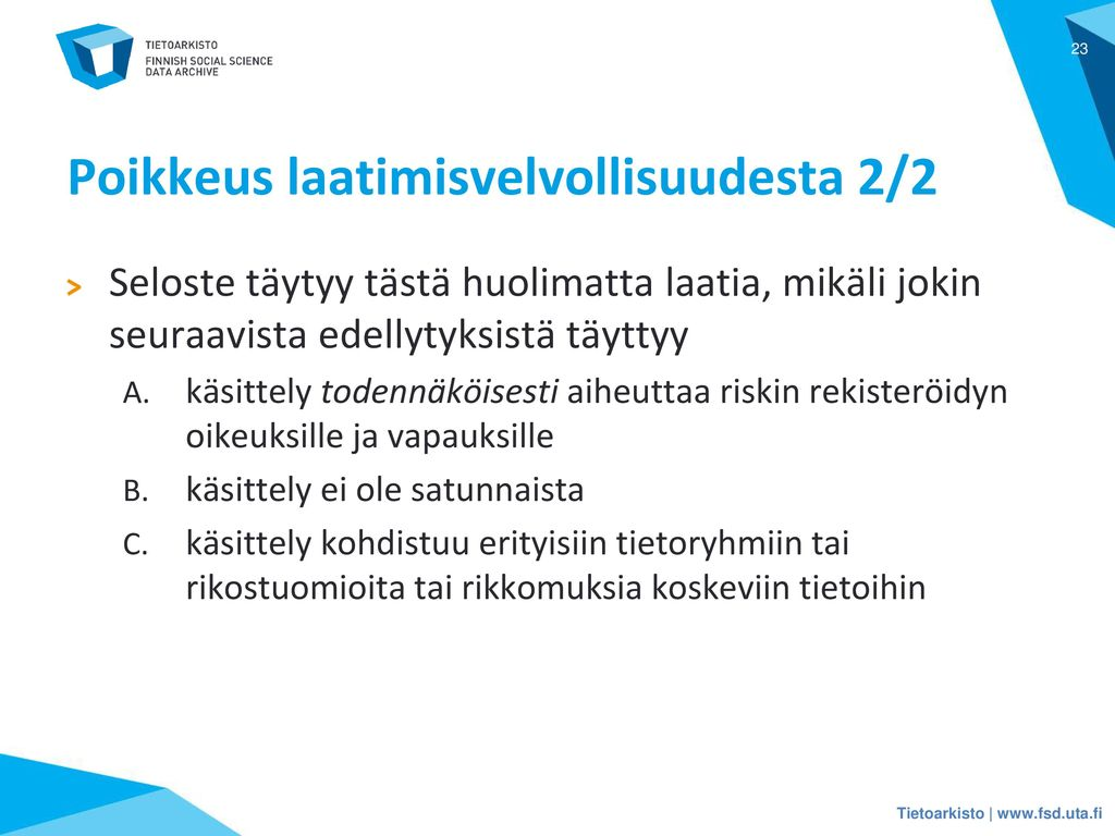 Poikkeus laatimisvelvollisuudesta 2/2