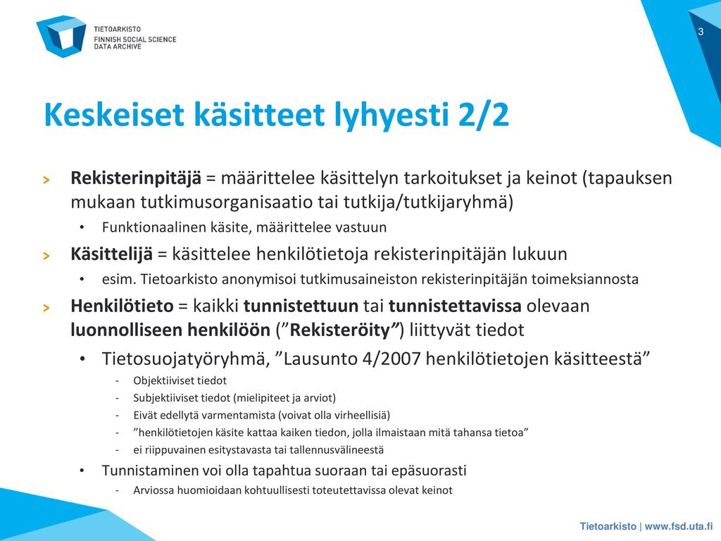Keskeiset käsitteet lyhyesti 2/2