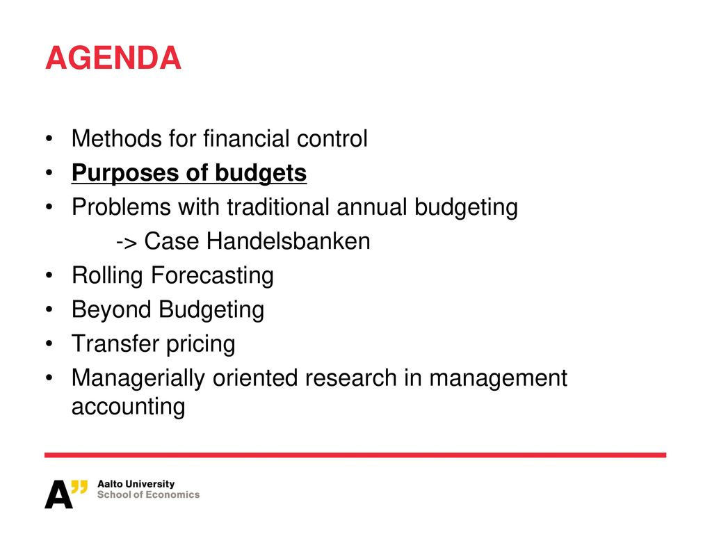 traditional approach to budgeting and budgetary control Approach to budget management accepted a set of policy  this reorientation  necessitated a number of changes in traditional budget management: •=  provision.