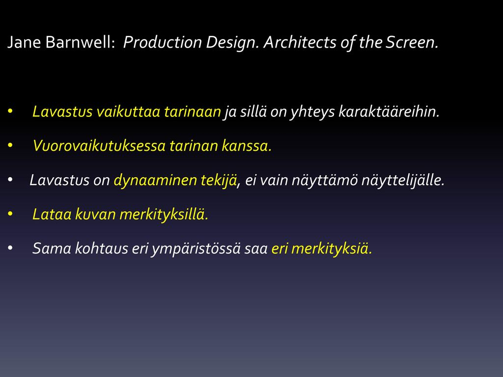 Jane Barnwell: Production Design. Architects of the Screen.