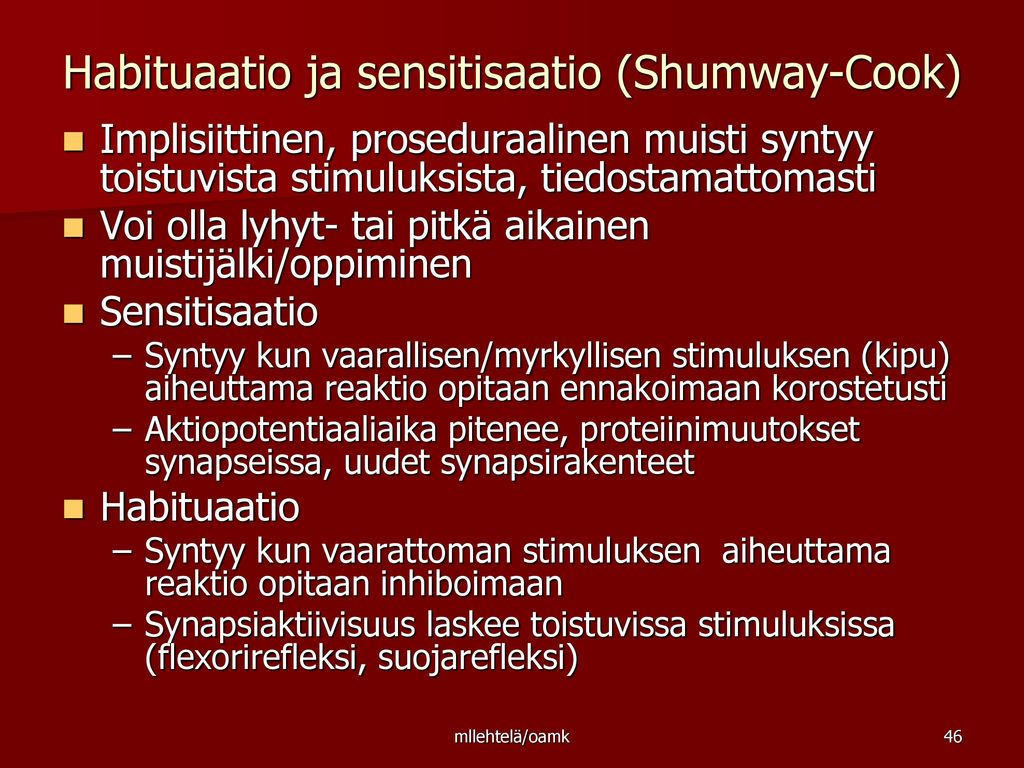 Habituaatio ja sensitisaatio (Shumway-Cook)
