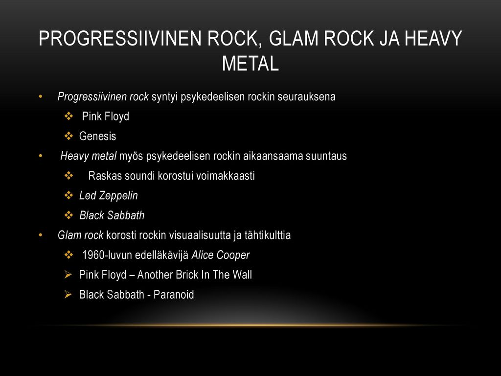 Progressiivinen rock, glam rock ja heavy metal